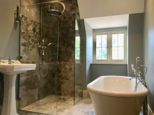 Arts and Crafts new family home ensuite bathroom in muted colours, Surrey England