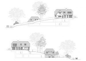 Site Elevations. Permission granted for a replacement house in the South Downs Nation Park